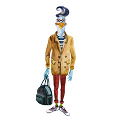 Hand drawn goose dressed up in modern clothes.