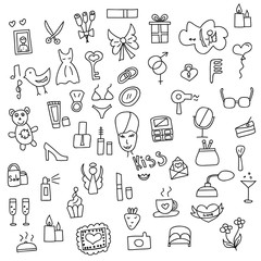 Icons of women hand drawn doodle in style. Vector illustration.