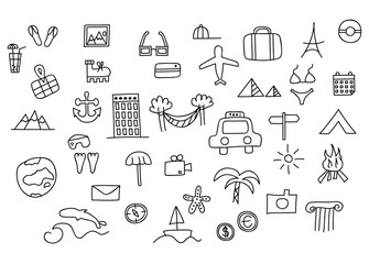 Travel and tourism themed doodle vector set illustration.