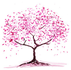 Abstract flowering tree. Watercolor painting, the color pink. Isolated on white background