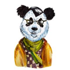Watercolor portrait cute hipster  panda
