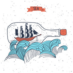 Sailing ship in the bottle, Hand drawn vector illustration for poster, greeting card, t-shirt