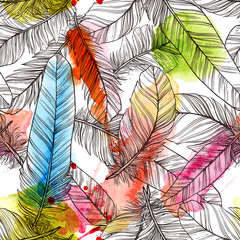 Seamless pattern with hand drawn feathers with watercolor splatters