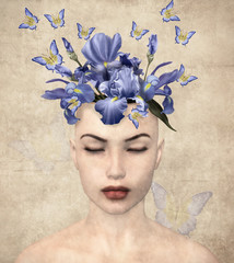 Surreal vintage portrait of a woman with flowers inside her mind