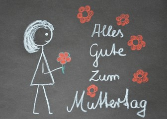 Kreidezeichnung - Kindereichnung - Zum Muttertag alles Gute
