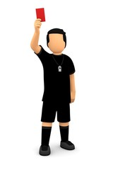 Fußball Schiedsrichter mit rote Karte und Pfeife