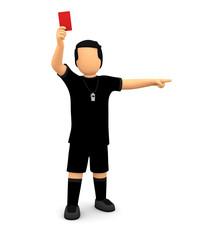 Fußball Schiedsrichter zeigt rote Karte und Pfeife