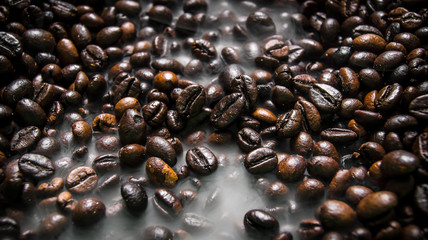 Fragrant fried coffee beans.