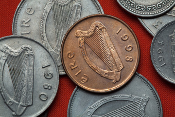 Coins of Ireland. Celtic harp