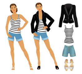 Vector illustration of afro woman in clothes for summer isolated on white background. Look with black jacket, white striped shirt and blue shorts of jeans fabric. Black sandals