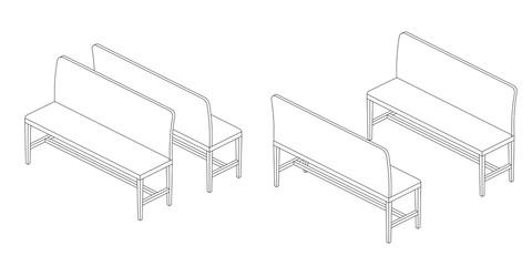 Bench illustration outline set, perspective 3d views black and white color