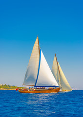 sailing in Spetses island in Greece