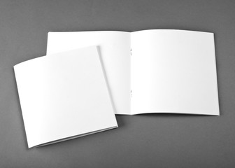 Blank opened magazine isolated on grey background with soft shadow