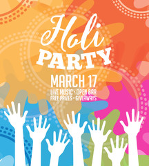 Holi Party invitation poster greeting card design. EPS 10 vector.