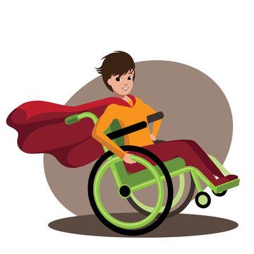 Superhero boy in a cool wheelchair. EPS 10 vector.
