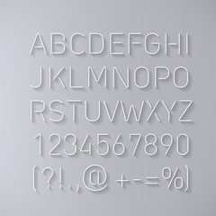 Font Thin Lines with Shadow