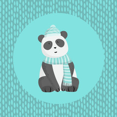 Panda with a scarf and hat