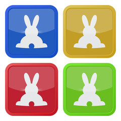 set of four square icons with back Easter bunny