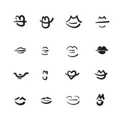 Hand drawn lips vector illustration icon set