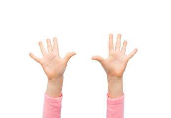 close up of little child hands raised upwards