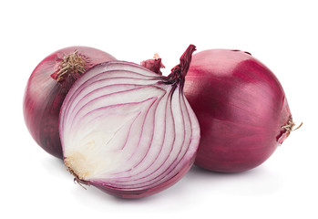 Purple onion on white
