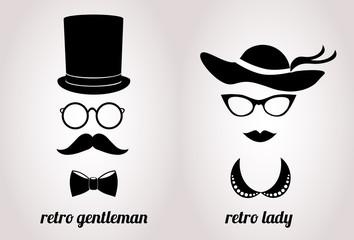 Retro and gentleman vector icon.