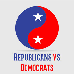 Political circle with colors of republicans and democrates