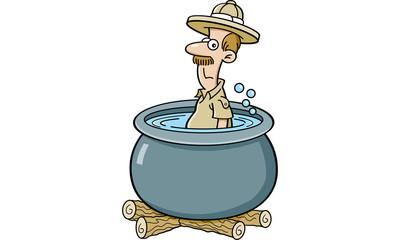Cartoon illustration of an explorer in a cooking pot.