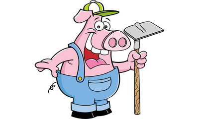 Cartoon illustration of a pig in overalls holding a hoe.