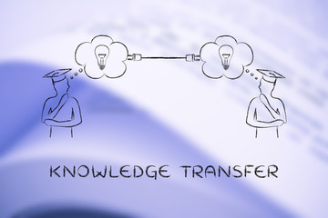 men with thought bubbles connected with a plug, knowledge transf