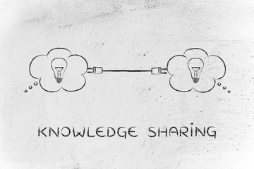 thought bubbles connected with a plug, knowledge sharing