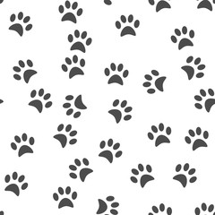 Dog's paw print background. Seamless pattern. Vector illustratio