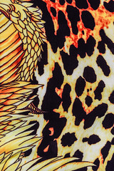 texture of print fabric striped leopard and feather