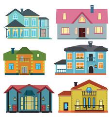 Set of cottage for infographics. Design map element