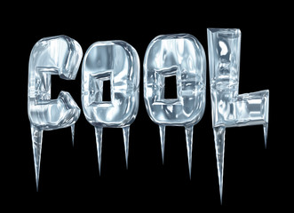 Icy COOL sign with icicles on black