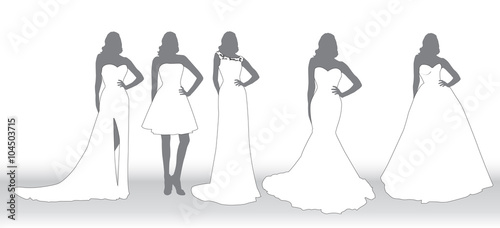 set silhouettes of brides in various wedding dresses stock image