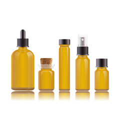 Realistic perfume set bottles for essential oils or cosmetic products. Dropper bottle, vial with a bamboo cover, flask, spray bottle, jar.
