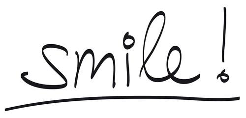 """Handschrift: """"smile!"""" / schwarz-weiß, Vektor, freigestellt"""