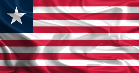 Waving Fabric Flag of Liberia