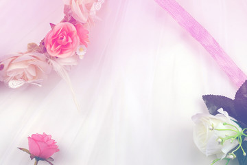 Wedding romantic  pastel background with roses