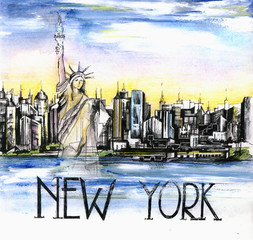 the  panoramic view of New York city watercolor