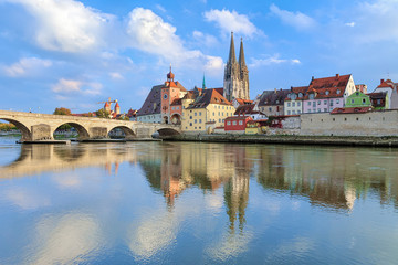 View from Danube on Regensburg Cathedral and Stone Bridge in Regensburg, Germany Wall mural