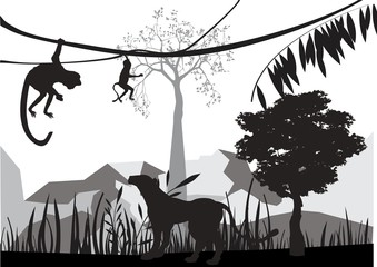 Jungle animals silhouettes vector illustration. Apes, leopard, tree silhouettes