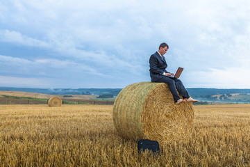 Contemporary businessman farmer in the landscape