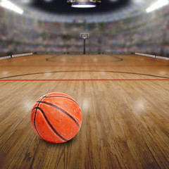 Basketball Arena With Ball on Court and Copy Space. Rendered in Photoshop.