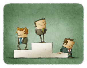 Businessmen on pedestal