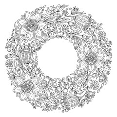 Flowers wreath. Coloring book page for adult.