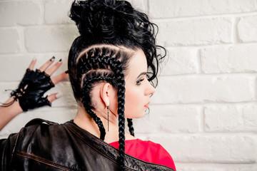 vinnitsa, UKRAINE - November 13, 2015.  Sexy brunette girl, makeup and hair in a beauty salon