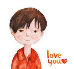 Boy with dark hair in red shirt. Watercolor illustration