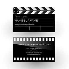 Vector abstract clapperboard and movie film, filmmaker concept.